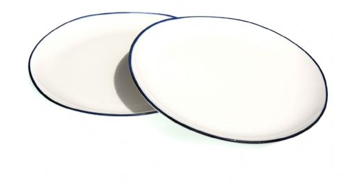 Blue rim Ocean Wave White ceramic large plates 26cm X2